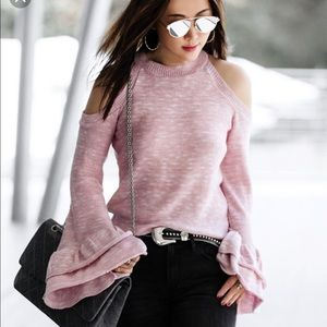 Express Cold Shoulder Flare Ruffle Sleeve Sweater